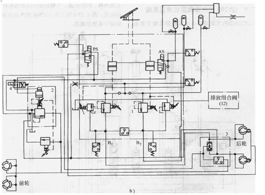 控制缸7-举升液压缸8-气动控制阀9-排放阀组io-转向控制器11-卸荷阀组图片