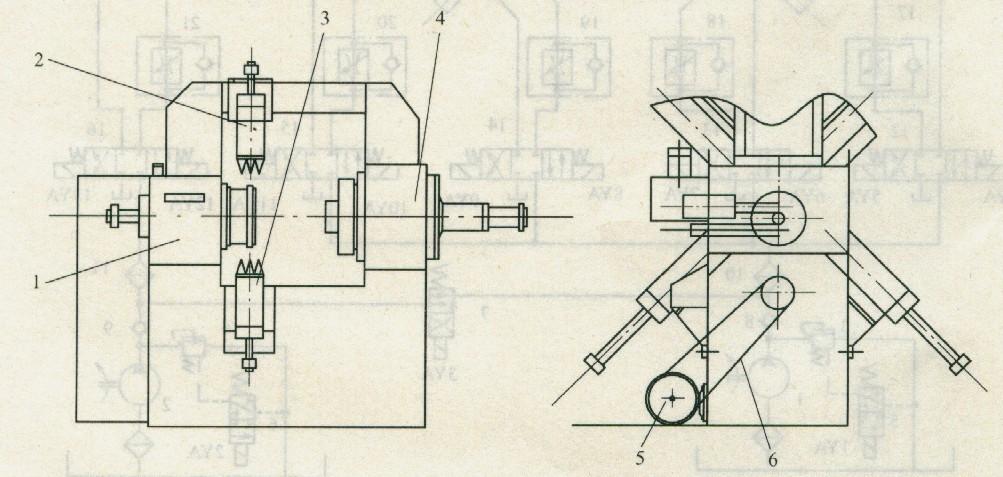 4调定,系统可通过二位三通电磁换向阀5,6控制升压与卸荷;液压缸c1~c5