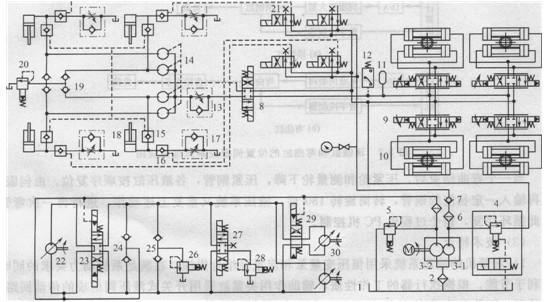 (斜轴式单铰双向定量柱塞液压马达)31,其功能是由电液伺服阀27控制图片