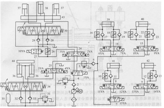 缸39与40的回路结构相同,分别由三位四通电磁换向阀14和15控制缸的图片