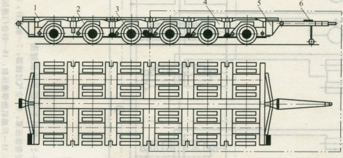 图1所示为重型多轴全挂车的结构示意图.