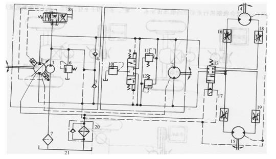 双联齿轮泵中另一路压力油,经全液压转向器4操纵转向液压缸5实现机构的转向。全液压转向器回路最高压力由安全阀4.1调定。在转向液压缸两腔的油路中,并联两个安全阀4.2、4.3,其作用为转向器处于中间位置时,转向液压缸两腔封闭,转向轮突然受到外界负载(例如大石块等障碍物)干扰时,使转向液压缸受到压缩,排出的油液经安全阀、单向阀进入液压缸的另一腔,保护液压元件和管路(特别是高压胶管)不受损坏,保证车辆不发生事故。全液压转向器为摆线转阀式中位无反应型,利用机械内反馈来实现随动。当方向盘不转动,既转向器处于中间位置