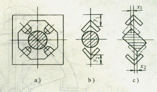 两自由度机液伺服定心夹钳工作原理及液压系统如图2所示。夹钳夹持圆形断面工件时,仅有y方向一个自由度的机液伺服系统参加工作。其工作过程如下:上钳口l可绕支点C1作上、下摆动,下钳口2可绕支点C2作上、下摆动。上钳口由操作液压缸3驱动,下钳口由伺服液压缸4驱动。电磁换向阀6处子中位,上钳口连同液压缸3的活塞在自重作用下接触圆形断面工件15,产生闭合量y1,同时,在比较器(由断条10、11和齿轮12组成)上有一个位移指令yl输入,这样,齿轮12连同锥体13 一起下移,机液伺服阀5的阀芯向左产生位移量xvy,压力