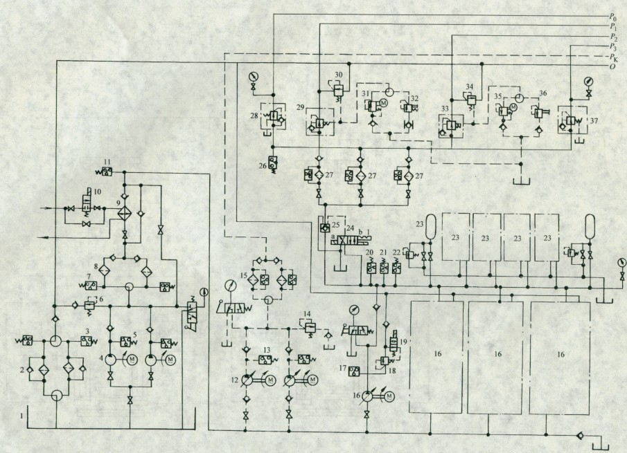 在液压箱1上装有4个触点的液位控制器,每个触点代表一个液面位置而图片