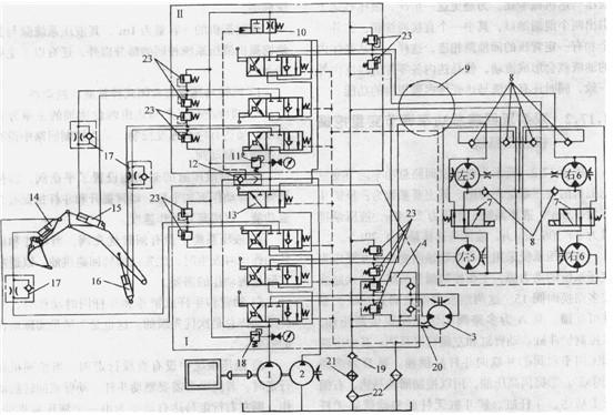 求挖掘机液压系统原理图,最好是带动态油路走向的图片